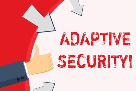 Handwriting text Adaptive Security. Conceptual photo analyzes behaviors and events to protect against threat Hand Gesturing Thumbs Up and Holding on Blank Space Round Shape with Arrows