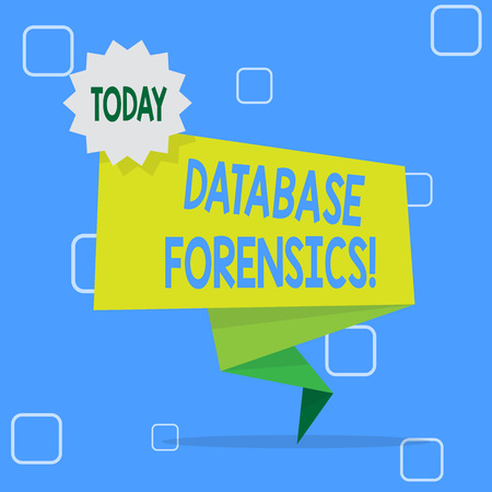 Handwriting text Database Forensics. Conceptual photo identifying transactions within a database system Blank Space Green Two Tone Folded Back Banner Strip with Seal Stamp Sticker