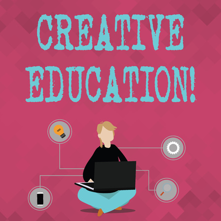 Writing note showing Creative Education. Business concept for students able to use imagination and critical thinking Woman Sitting with Crossed Legs on Floor Browsing the Laptop Imagens