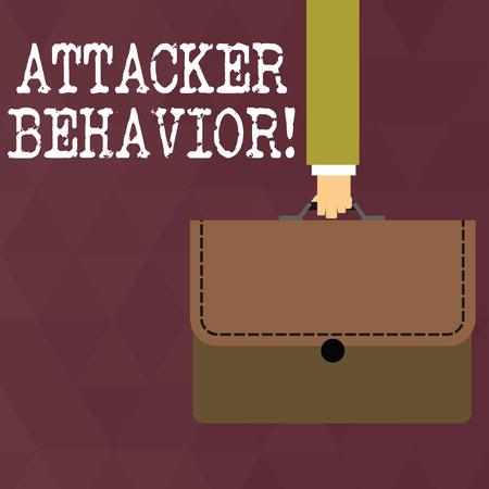 Writing note showing Attacker Behavior. Business concept for analyze and predict the attacker behavior of the attack Businessman Carrying Colorful Briefcase Portfolio Applique