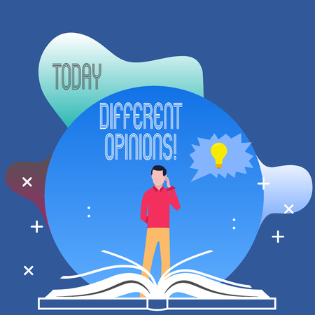 Conceptual hand writing showing Different Opinions. Concept meaning a conflict of opposed ideas or attitudes or goals Man Standing Behind Open Book Jagged Speech Bubble with Bulb
