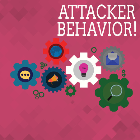 Text sign showing Attacker Behavior. Business photo text analyze and predict the attacker behavior of the attack Set of Global Online Social Networking Icons Inside Colorful Cog Wheel Gear
