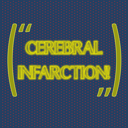 Writing note showing Cerebral Infarction. Business concept for focal brain necrosis due to complete and long ischemia Infinite Color Polka Dots Arranged in Columns on Dark Shade Background