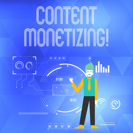 Word writing text Content Monetizing. Business photo showcasing making money from content that exists on your website Man Standing Holding Pen Pointing to Chart Diagram with SEO Process Icons