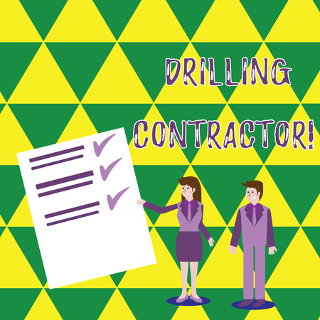 Word writing text Drilling Contractor. Business photo showcasing contract their services mainly for drilling wells Man and Woman in Business Suit Presenting Report of Check and Lines on Paper 免版税图像