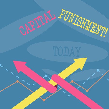 Word writing text Capital Punishment. Business photo showcasing authorized killing of someone as punishment for a crime Two Arrows where One is Intertwined to the other as Team Up or Competition Stok Fotoğraf