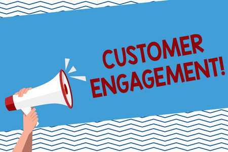Conceptual hand writing showing Customer Engagement. Concept meaning the emotional connection between a customer and a brand Human Hand Holding Megaphone with Sound Icon and Text Space Фото со стока