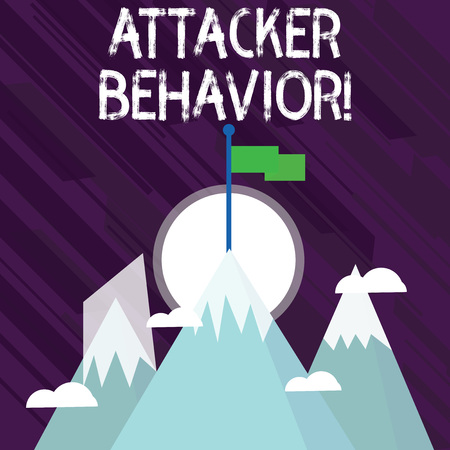 Word writing text Attacker Behavior. Business photo showcasing analyze and predict the attacker behavior of the attack Three High Mountains with Snow and One has Blank Colorful Flag at the Peak Stock Photo