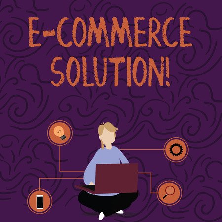 Handwriting text E Commerce Solution. Conceptual photo Software used by business in selling products online Woman Sitting Crossed Legs on Floor Browsing the Laptop with Technical Icons Banque d'images - 121905857