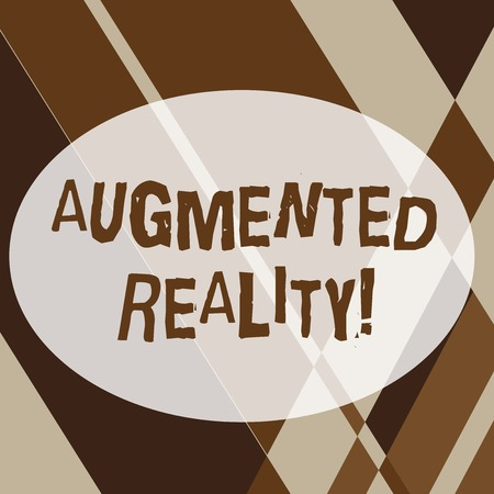 Text sign showing Augmented Reality. Business photo text interactive experience of a realworld environment Geometrical Shapes and Linear Combination in Brown Tone in Abstract Pattern