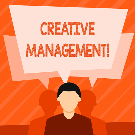 Word writing text Creative Management. Business photo showcasing Managing of creative thinking skills and mental process Faceless Man has Two Shadows Each has Their Own Speech Bubble Overlapping