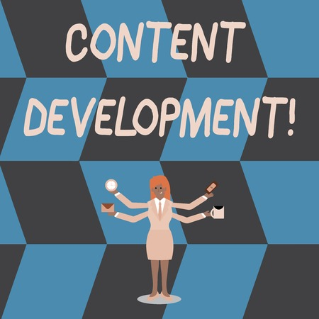 Writing note showing Content Development. Business concept for Authoring and originating content for any medium Woman with Four Arms Extending Sideways Workers Needed Item