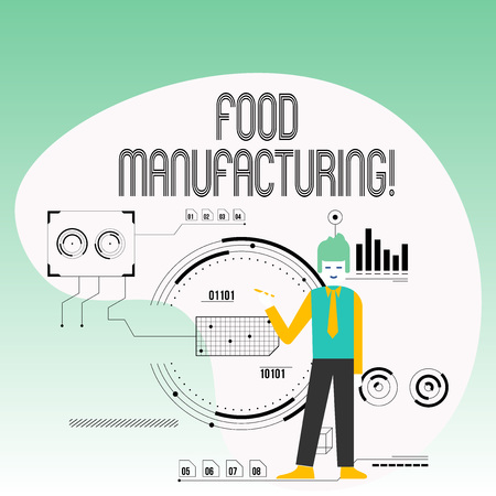 Text sign showing Food Manufacturing. Business photo text transformation of agricultural products into food Man Standing Holding Pen Pointing to Chart Diagram with SEO Process Icons