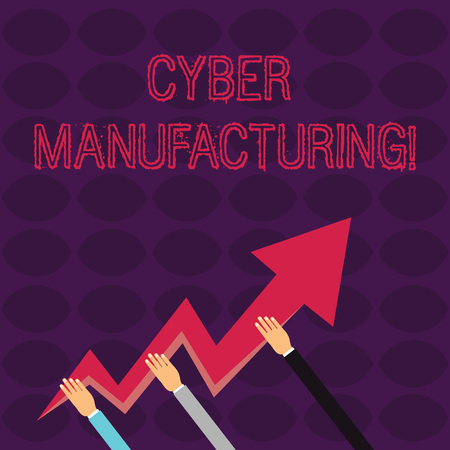 Handwriting text writing Cyber Manufacturing. Conceptual photo transformative concept that aims the translation of data Three Hands Holding Colorful Zigzag Lightning Arrow Pointing and Going Up