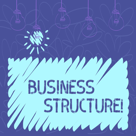 Conceptual hand writing showing Business Structure. Concept meaning Organization framework that is legally recognized Transparent Bulbs Hanging with Filament and One Lighted Icon