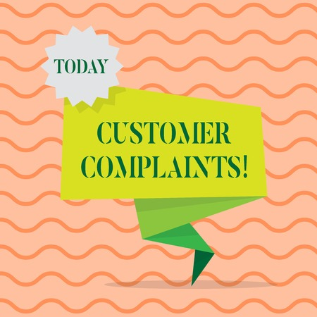 Word writing text Customer Complaints. Business photo showcasing expression of dissatisfaction on a consumer s is behalf Blank Space Green Two Tone Folded Back Banner Strip with Seal Stamp Sticker