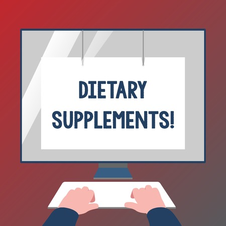 Conceptual hand writing showing Dietary Supplements. Concept meaning Product taken orally intended to supplement ones diet Hands on Keyboard Front White Monitor with Screen Protector Stockfoto