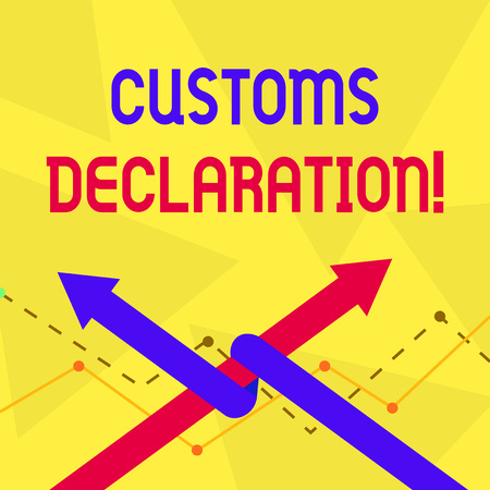 Handwriting text Customs Declaration. Conceptual photo Official document showing goods being imported Two Arrows where One is Intertwined to the other as Team Up or Competition Stock Photo