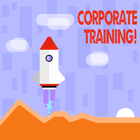 Writing note showing Corporate Training. Business concept for improving the employees perforanalysisce morale and skills Colorful Spacecraft Shuttle Launching New Business Startup
