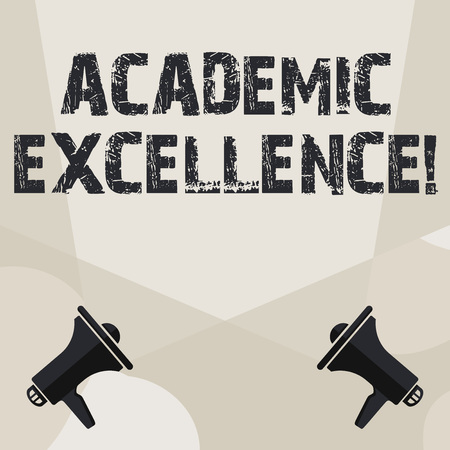 Conceptual hand writing showing Academic Excellence. Concept meaning Achieving high grades and superior perforanalysisce Spotlight Crisscrossing Upward from Megaphones on the Floor