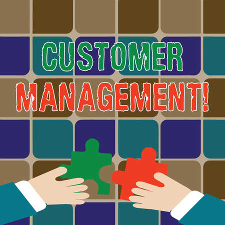 Writing note showing Customer Management. Business concept for customer retention and ultimately driving sales growth Hands Holding Jigsaw Puzzle Pieces about Interlock the Tiles
