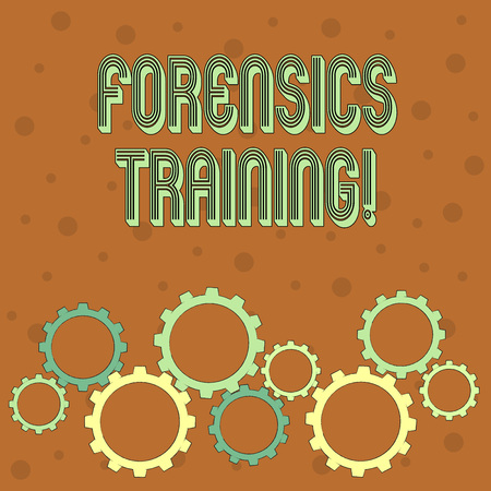 Conceptual hand writing showing Forensics Training. Concept meaning scientific methods and processes to solving crimes Colorful Cog Wheel Gear Engaging, Interlocking and Tesselating 版權商用圖片