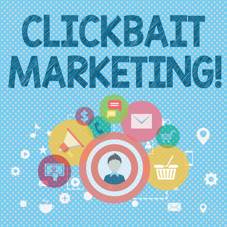 Word writing text Clickbait Marketing. Business photo showcasing Online content that aim to generate page views photo of Digital Marketing Campaign Icons and Elements for Ecommerce