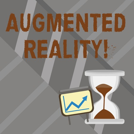 Word writing text Augmented Reality. Business photo showcasing interactive experience of a realworld environment Successful Growth Chart with Arrow Going Up and Hourglass with Sand Sliding 写真素材