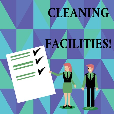 Text sign showing Cleaning Facilities. Business photo showcasing Place or equipment provided for a cleaning purposes Man and Woman in Business Suit Presenting Report of Check and Lines on Paper
