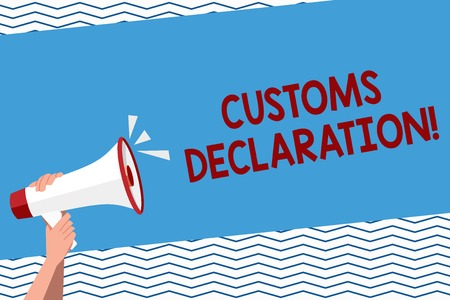 Conceptual hand writing showing Customs Declaration. Concept meaning Official document showing goods being imported Human Hand Holding Megaphone with Sound Icon and Text Space