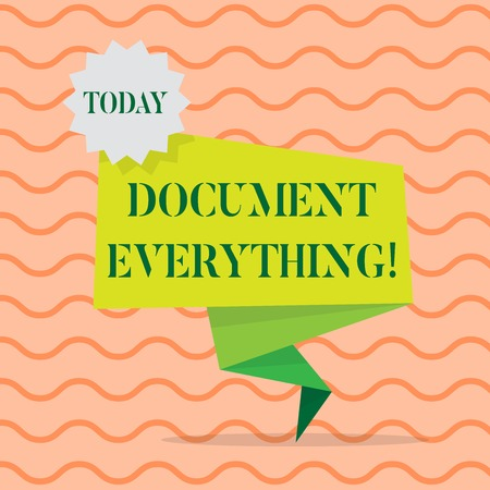 Word writing text Document Everything. Business photo showcasing computer file that contains text that you have written Blank Space Green Two Tone Folded Back Banner Strip with Seal Stamp Sticker