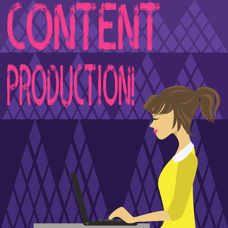 Writing note showing Content Production. Business concept for way of developing and creating visual or written assets photo of Young Busy Woman Sitting Side View and Working on her Laptop