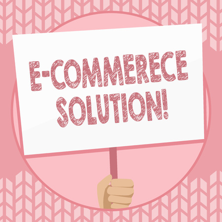 Writing note showing E Commerce Solution. Business concept for Software used by business in selling products online Hand Holding Placard Supported by Handle Social Awareness Imagens