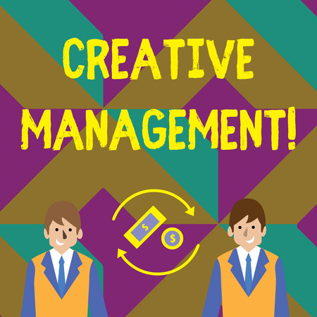 Text sign showing Creative Management. Business photo showcasing Managing of creative thinking skills and mental process Money in Dollar Currency Sign Inside Rotating Arrows Between Two Businessmen