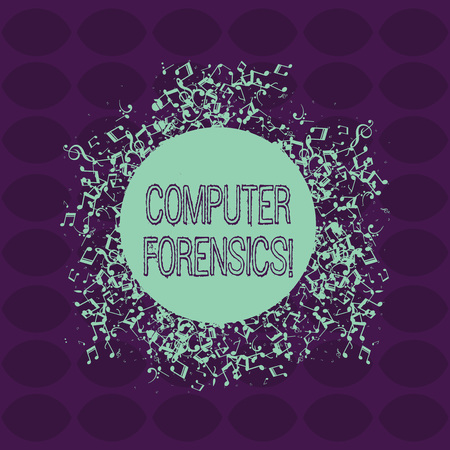 Text sign showing Computer Forensics. Business photo showcasing the investigative analysis techniques on computers Disarrayed and Jumbled Musical Notes Icon Surrounding Blank Colorful Circle
