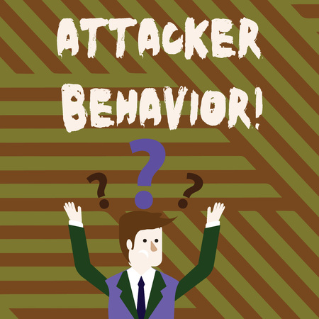 Conceptual hand writing showing Attacker Behavior. Concept meaning analyze and predict the attacker behavior of the attack Businessman Raising Both Arms with Question Marks Above Head Stock Photo