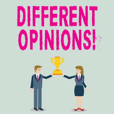 Word writing text Different Opinions. Business photo showcasing a conflict of opposed ideas or attitudes or goals Man and Woman in Business Suit Holding Together the Championship Trophy Cup