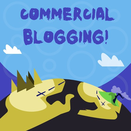 Conceptual hand writing showing Commercial Blogging. Concept meaning published and used by an organization or corporation Mountain View with Hiking Trail and Trekking Tracks for Ads