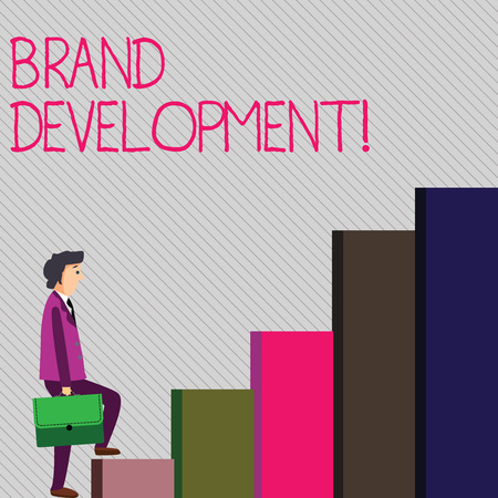 Conceptual hand writing showing Brand Development. Concept meaning improving customers knowledge and opinions of a brand Man Carrying a Briefcase in Pensive Expression Climbing Up