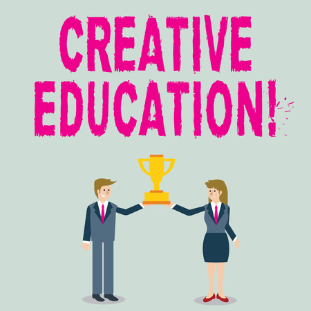 Word writing text Creative Education. Business photo showcasing students able to use imagination and critical thinking Man and Woman in Business Suit Holding Together the Championship Trophy Cup