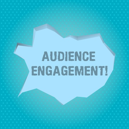 Word writing text Audience Engagement. Business photo showcasing active involvement of an audience in a live broadcast Blank Pale Blue Speech Bubble in Irregular Cut Edge Shape 3D Style Backdrop Imagens