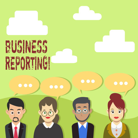 Handwriting text Business Reporting. Conceptual photo a formal written document for a business setting Group of Business People with Blank Color Chat Speech Bubble with Three Dots