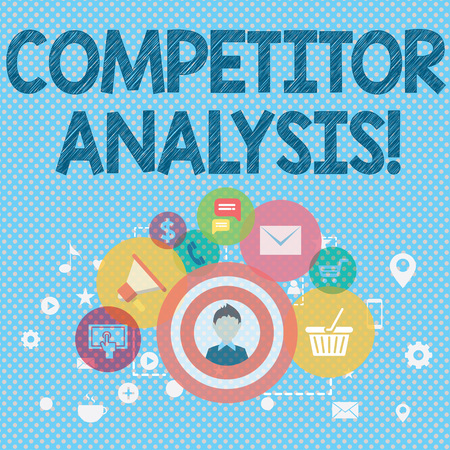 Word writing text Competitor Analysis. Business photo showcasing assessment of the strengths and weaknesses of rival firm photo of Digital Marketing Campaign Icons and Elements for Ecommerce