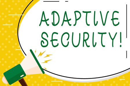 Writing note showing Adaptive Security. Business concept for analyzes behaviors and events to protect against threat Oval Shape Sticker and Megaphone Shouting with Volume Icon 스톡 콘텐츠