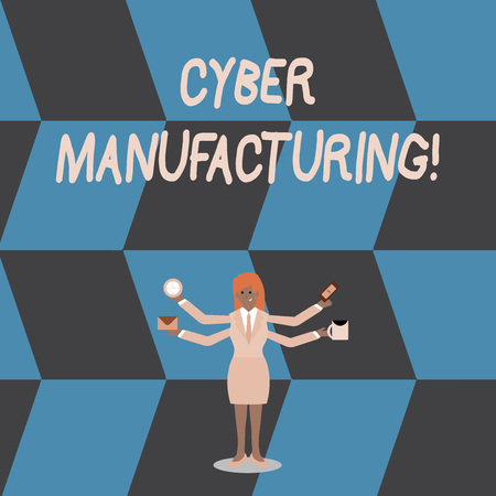 Writing note showing Cyber Manufacturing. Business concept for transformative concept that aims the translation of data Woman with Four Arms Extending Sideways Workers Needed Item