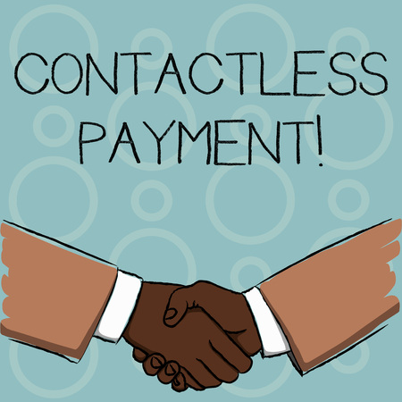 Writing note showing Contactless Payment. Business concept for use near field communication for making secure payments Businessmen Shaking Hands Form of Greeting and Agreement Imagens