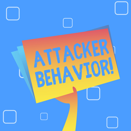 Handwriting text Attacker Behavior. Conceptual photo analyze and predict the attacker behavior of the attack Hand Holding and Raising Blank Space Colorful File Folder with Sheet Inside Stock Photo