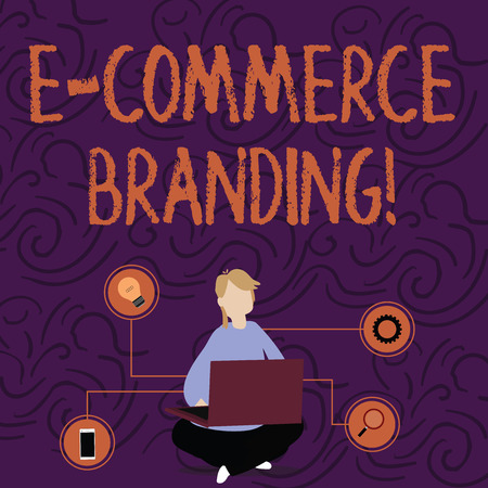 Handwriting text E Commerce Branding. Conceptual photo establish an image of your company in ycustomers eyes Woman Sitting Crossed Legs on Floor Browsing the Laptop with Technical Icons