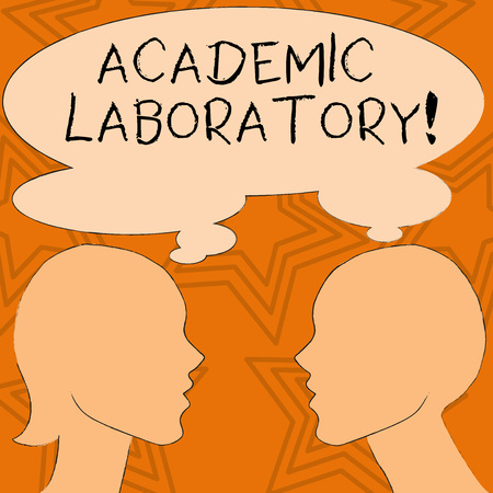 Writing note showing Academic Laboratory. Business concept for where students can go to receive academic support Silhouette Sideview Profile of Man and Woman Thought Bubble