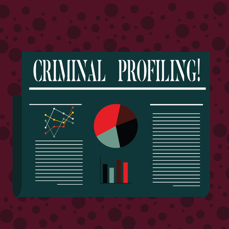 Word writing text Criminal Profiling. Business photo showcasing Develop profiles for criminals who not yet apprehended Colorful Layout Design Plan of Text Line, Bar, Linear and Pie Chart Diagram